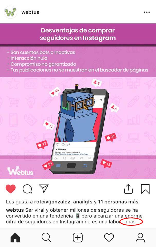 información adicional Instagram